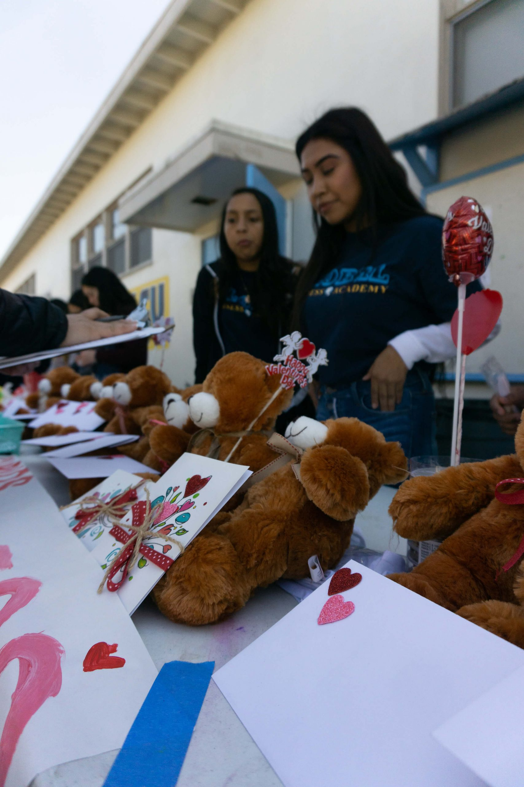 Global business students put on a fundraiser for Valentine's Day with teddy bears and cards.